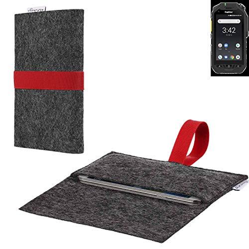 flat.design vegane Handy Hülle Aveiro für Ruggear RG725 passexakte Filz Tasche Hülle Sleeve Made in Germany