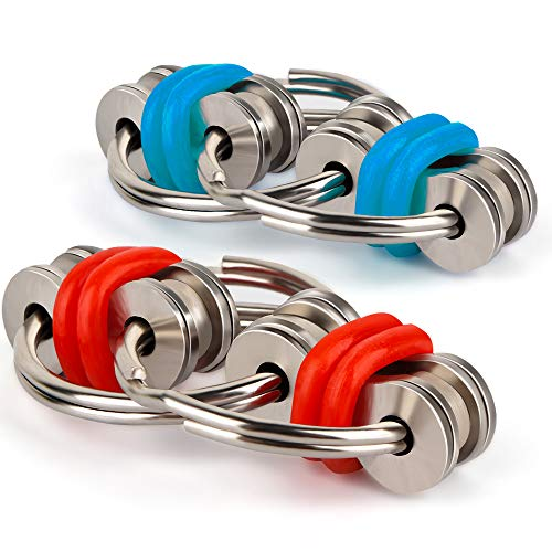 Coogam Fidget Toys Flippy Chain - Stainless Steel Keychain Stress Anxiety Relief Sensory Ring for ADD, ADHD and Autism