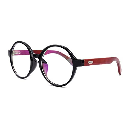 7152fdfc46 Amillet Wooden Vintage Retro Round Glasses Frame Clear Lens Fashion Circle  Eyeglasses 48mm