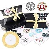 Caja de almohada Caja de regalo, 24 cajas de boda vintage de papel kraft de 13x8.8cm, cajas de galletas con cintas doradas y pegatinas digitales para chocolates, dulces, joyas y pequeños regalos(Negro