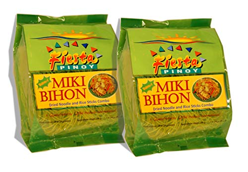 Fiesta Pinoy, Miki Bihon Dried Noodle and Rice Stick Combo. Halal Certified 8oz (2 Pack)