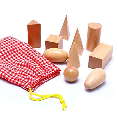 Sólidos de geometría en Mystery Bag - 3D Formas Miniatura Set -Wooden Montessori Juguetes - Pack de 10pcs - 3 años en adelante