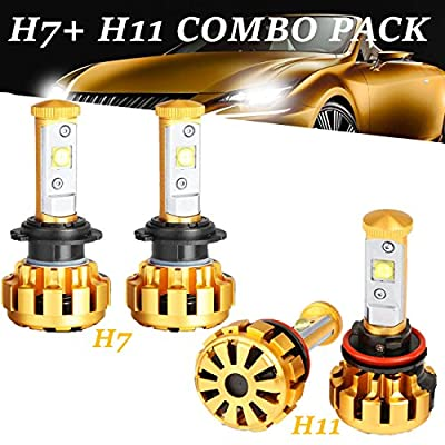 POWLAB 2Pcs H7 LED Headlights Bulb, Fog Light Bulbs, All-in-One Headlamps Conversion Kit, CREE LED Chips Single Beam 60W 6000LM Cool White 6000K, Series F-16, 2 Year Warranty