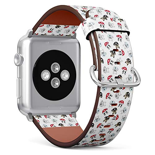 Compatible with Apple Watch Series 6/5/4/3/2/1 (Big Version 42/44 mm) Leather Wristband Bracelet Replacement Accessory Band + Adapters - Dog French Bulldog