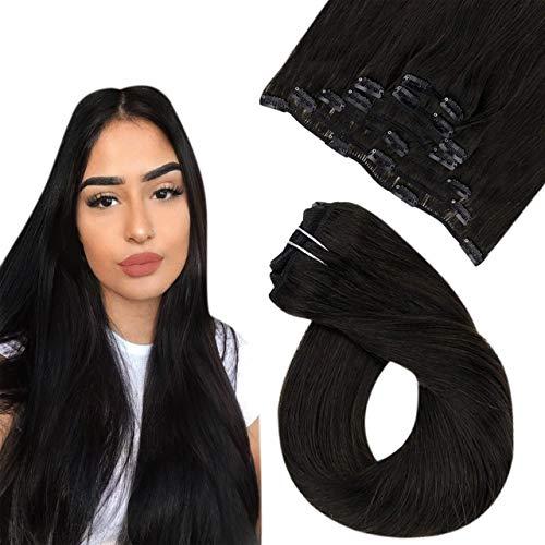 Easyouth Extensions a Clip Cheveux Naturel Vrais Cheveux Extensions Humain Couleur Dark Brown Clip in Hair Extensions 12pouces 30cm 70g 7Pcs par Paquet
