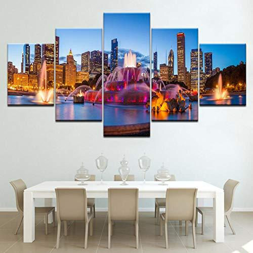 Cyalla Moderne Bilder Dekoration Rahmen Hd Drucke 5 Stücke Chicago Buckingham Brunnen Landschaft Poster Wandkunst Modulare Gemälde Leinwand Drucke Auf Leinwand 200X100Cm