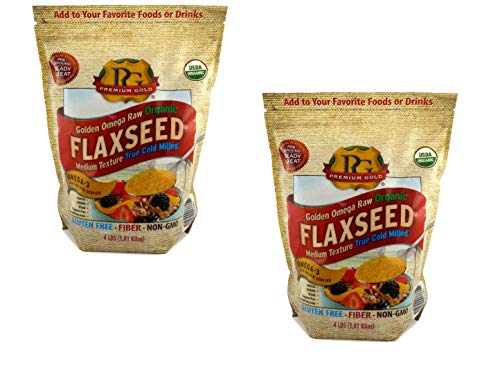 Premium Gold Organic Ground Flax Seed | High Fiber Food | Omega 3 | 4 pounds - 2 Pack