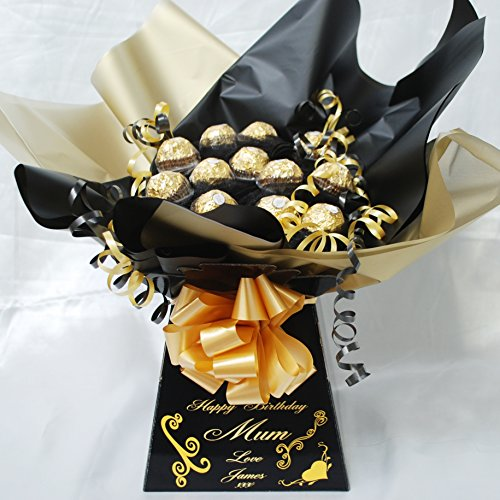 Black - Personalised Ferrero Rocher Chocolate Bouquet Sweet Bouquet Hamper