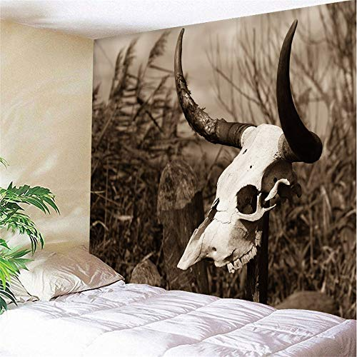 mohanshop 3D Tapestry Bull Head Skull Mandala Hippie Wall Hanging Indian Bohemian Dorm Decor Single Multi-Colored Bedsheet Print Picnic Table Cloth 150(H) X200(W) Cm