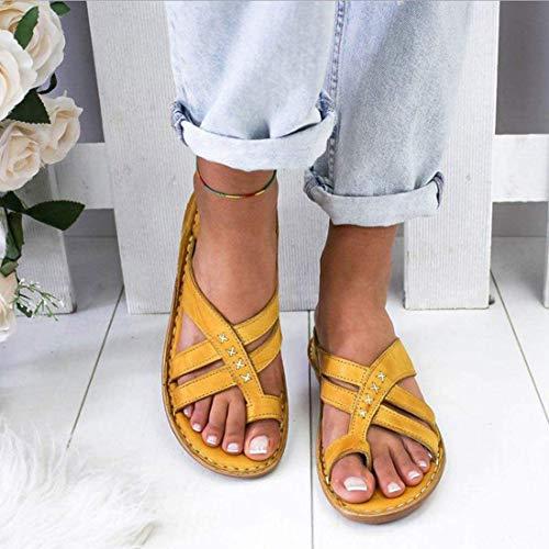 EVR Sandalias Correctoras Mujeres Zapatos Ortopédicos Juanete Corrector Cómoda Planas Cuña Casuales De Las Señoras del Dedo Gordo del Pie Corrección Sandalias,Amarillo,38 ✅