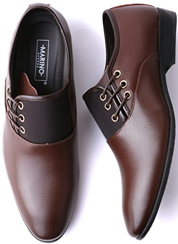 Marino Oxford Dress Shoes for Men – Formal Leather Shoes – Casual Classic Brogue Mens Shoes – Brown – Side Lace – 10.5 D(M) US