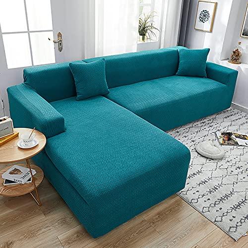LT&NT Jacquard Funda Cubre Sofá por 3 Cushion Couch,1-Pieza Elastic Fundas De Sofá con Fondo Elástico,Anti-resbalón Protector De Sofá Lavable De Funda De Sofá-Lago Azul XL