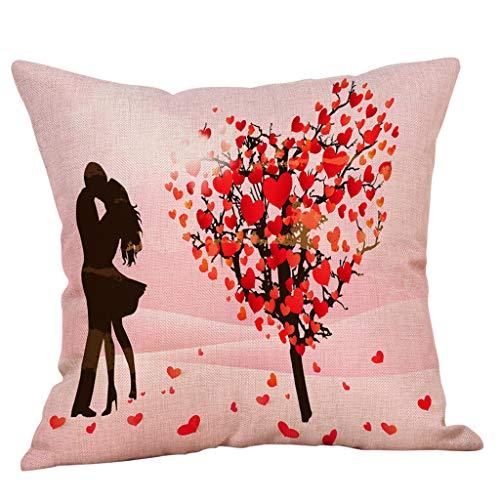 Yvelands Saint Valentin Style Lin Carré Taie d'oreiller Imprimé Romantique Doux Coussins Lombaires Coussins RelèVe-Jambes(F)