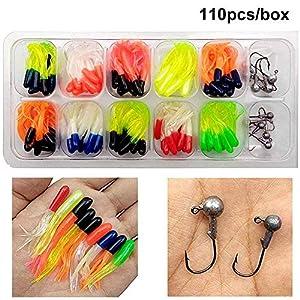 Shaddock Fishing Lures Baits Tackle, Trout Fishing Kit, Tube Jigs Fishing Gear Set Including Plastic woms, Jigs Heads Hooks, 17-110pcs Soft Plastic Bait Set