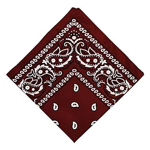 Colcolo Novedad Algodón Paisley Cowboy Bandana Abrigo para La Cabeza Cuello Diadema Muñequera Pañuelo - Rojo vino, unico