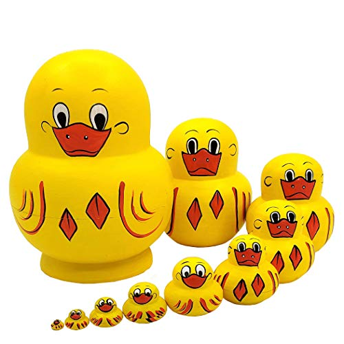 Moonmo 10pcs Animal Pattern Wooden Nesting Toys Russian Nesting Dolls Matryoshka Stacking Dolls (Duck)