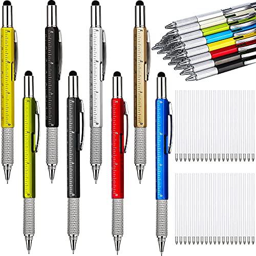 32 Pieces Pen for Men with 40 Pen Refills, 6 in 1 Multi Tech Tool Pen Gadget Screwdriver Pen with Ruler, Levelgauge, Ballpoint Pen for Men (Gold, Black, Silver, Yellow, Red, Green, Blue, Gray)