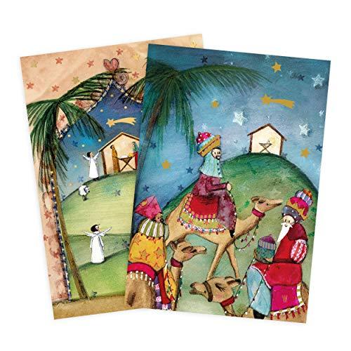 Set Di 2 Biglietti Di Auguri Per Natale, Presepe, Sacra Tre Re Neutri, Per Ragazzi, Ragazze, In Bianco, Per Natale, DIN A6