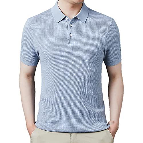 De punto de algodón de lino de morera de seda de los hombres camiseta de verano de manga corta de
