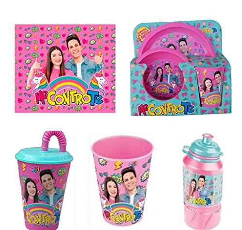 official product Me Contro Te tovaglietta Americana + Borraccia in plastica con beccuccio + Bicchiere in plastica + Set Pranzo + Bicchiere in plastica con Cannuccia (Giallo)