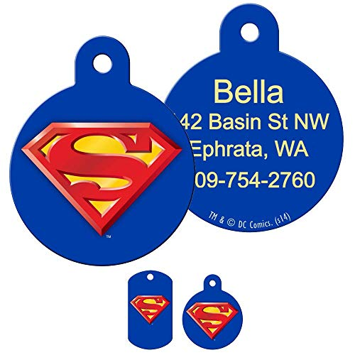 GoTags Superhero Superman Pet ID Tags, Personalized Engraved Dog Tags and Cat Tags with up to 4 Lines of Custom Text