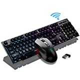 Rechargeable Keyboard and Mouse Wireless Combo,USB Fast-Charging 104 Keys Full-Size PC Laptop Mechanical Feel Backlit Gaming Keyboard Support Adjustable Breathing Lamp &Glowing Mouse with Smart Switch