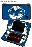Nintendo DSi XL Skin - Big Kiss White on Midnight Blue by WraptorSkinz