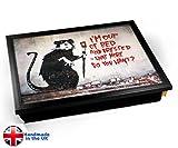 Banksy Out of Bed Rat Cushion Lap Tray Kissen Tablett Knietablett Kissentablett - Schwarzer Rahmen