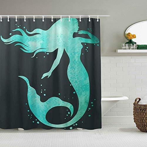 YOLIKA Duschvorhang,Meerjungfrau Ozean Spray Blue Charming Mystery,personalisierte Deko Badezimmer Vorhang,mit Haken,180 * 180