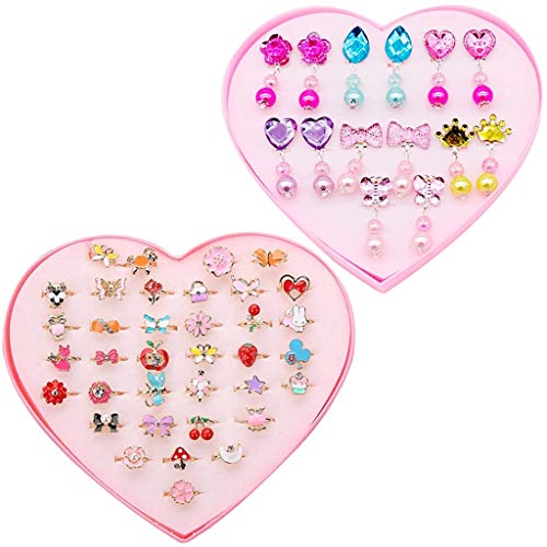 Amycute Little Girls Jewellery Set, 7 Pairs Clip-on Crystal Earrings with Pads And 36 Pcs Girls Rings Dress up Princess Jewelry Accessories for Girls Kids Toddler (Style 1)