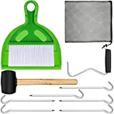 10 Pieces Camping Tents Accessories with Rubber Hammer, Tent Peg Extractor, Tent Nails, Mini Broom and Dustpan, Nylon Mesh Bag with Drawstring