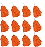 Faxco 12Pack Plastic Pom Poms Cheerleading Pom Poms Sports Dance Cheer Plastic Pom Pom for Rooters,Cheering Squard,Cheering Team (Orange)