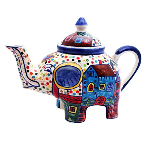Gall&Zick Teekanne Elefant Kanne Keramik handbemalt Kännchen Geschirr Dekoration