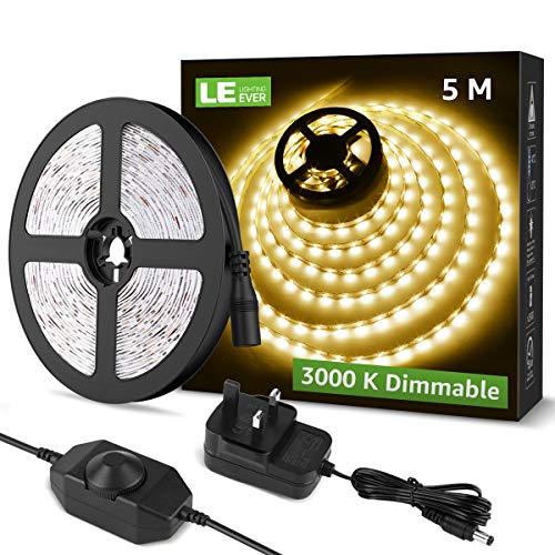 Lighting EVER 5M Dimmable LED Strip Lights, 3000K Warm White, Plug and...
