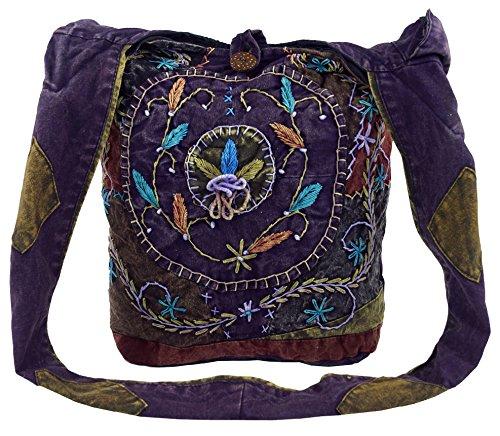 GURU SHOP Batik Sadhu Bag, Hippie Tasche, Goa Schulterbeutel - Lila, Herren/Damen, Violett, Baumwolle, Size:One Size, 40x35x25 cm, Alternative Umhängetasche, Handtasche aus Stoff