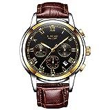 Luxury Business montre à quartz avec chronographe Hommes montres de sport étanche Montre-bracelet Bande de cuir Mode...