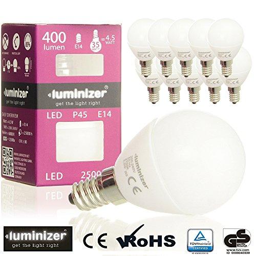 luminizer® 10er E14 LED-lampen GS TÜV gecertificeerd glas in plaats van plastic thermo-keramiek basis vervangt 35 W gloeilamp 4,5 W P45 400 lm koud wit 6000 K 200 ° stralingshoek LED-lamp kroonluchter lampen [energieklasse A ]