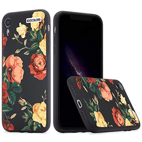 Idocolors Cover per iPhone 6 / 6S Fiore Nero Silicone Liquido Morbido Custodia con Fodera Tessile Microfibra Antiurto Bumper Protettiva Case