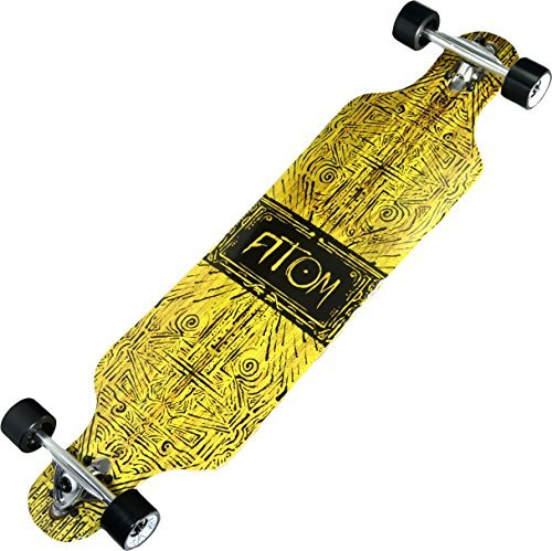 Atom Longboards Drop Through Longboard Skateboard, 40, Tiki Banner by Atom Longboards