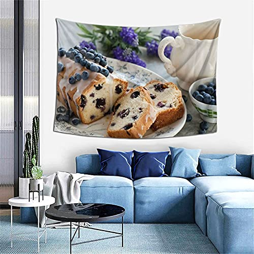 MSINCUDJ Wandteppich Cupcake Heidelbeere Beeren Backen Zuckerguss Wanddekor Tapisserie Wandbehang Durable Wand Tagesdecke 152X102CM