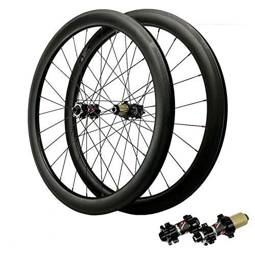 700C Ruedas para Bicicleta,Fibra De Carbon Freno De Disco Eje De Barril 7/8/9/10/11/12 Velocidad Ciclismo Wheels Cross-Country Deportes (Color : Black, Size : 50mm)