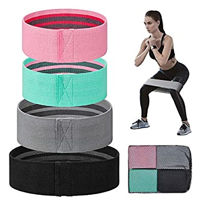 Terra Hiker Resistance Bands for Legs and Butt - Non Slip Elastic Exercise Bands Set for Stretching, Strength Training, Physical Therapy, Yoga, Home Equipment Workout Booty Bands for Women/Men, 4 Pack
