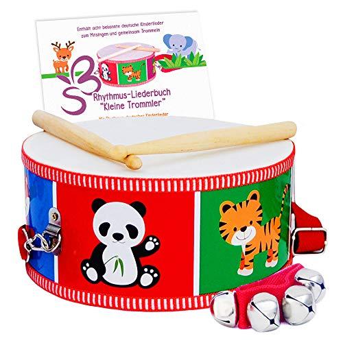 SCHMETTERLINE® Kindertrommel – Trommel aus Holz inkl. Glockenarmband und Trommelbuch – Perkussions-Musikinstrument für Kinder ab 3 Jahren