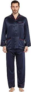 LilySilk Men's 100 Silk Pyjama Set Long with Contrast Trim 22 Momme Pure Silk