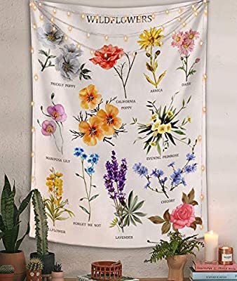Lifeel Wildflowers Vertical Tapestry Wall Hanging, Illustrative Reference Chart Tapestry With Word, Beige White Vintage Tarot Flag Straight Tapestry 44×60 inches