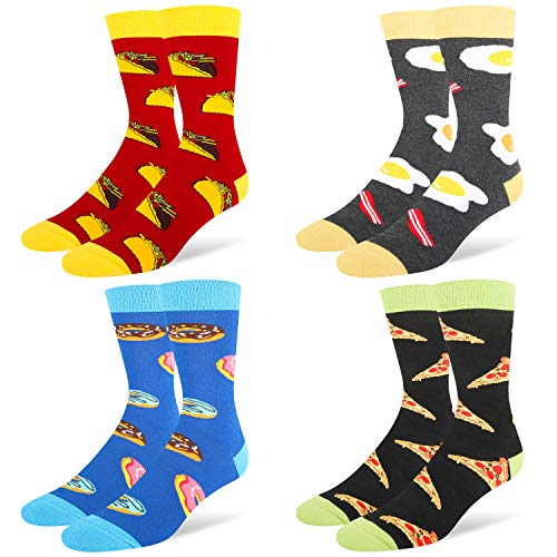 Happypop 4 Pack Men's Novelty Cool Socks, Funny Crazy Animals Art Fun Cotton Crew Socks Gift Box