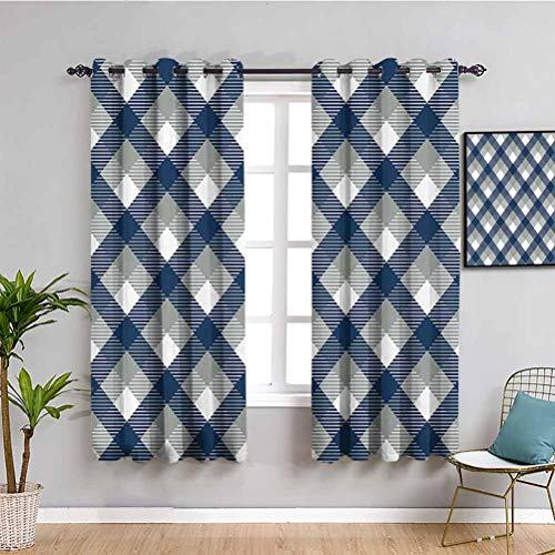 Navy Heat Insulation Curtain Abstract Checkered Tartan Geometric Classic Squares with Scottish Effects Indoor Curtain W63 x L63 Inch Dimgrey White Dark Blue