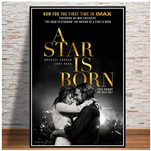 wzgsffs New A Star Is Born Love Music 2018 Movie Poster And Prints Wall Art Print On Canvas For Living Room Home Bedroom-24X32 Inchx1 Frameless