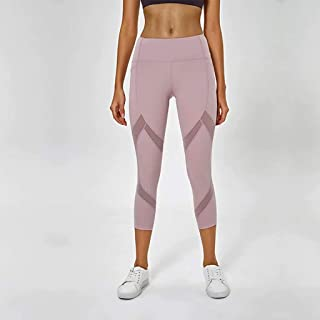 Mesh Yarn Stitching Yoga Cropped Pants Women's Hip Shaping Sports Fitness Tights,Pink(10)