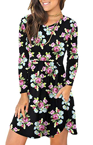 LONGYUAN Women's Long Sleeve T Shirt Dresses Casual Swing Dress S, Little Flower (Apparel)